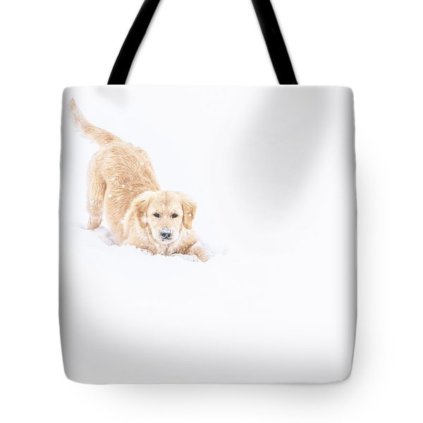 Playful Puppy In So Much Snow Tote Bag