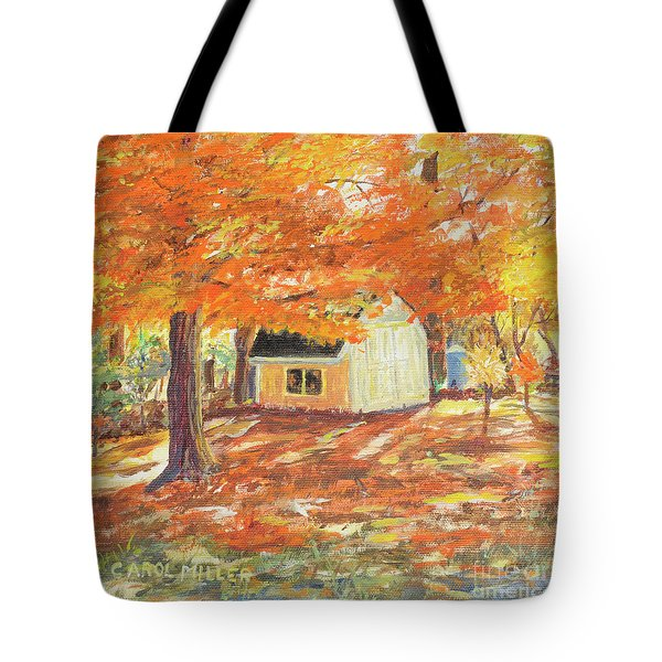 Playhouse In Autumn Tote Bag by Carol L Miller