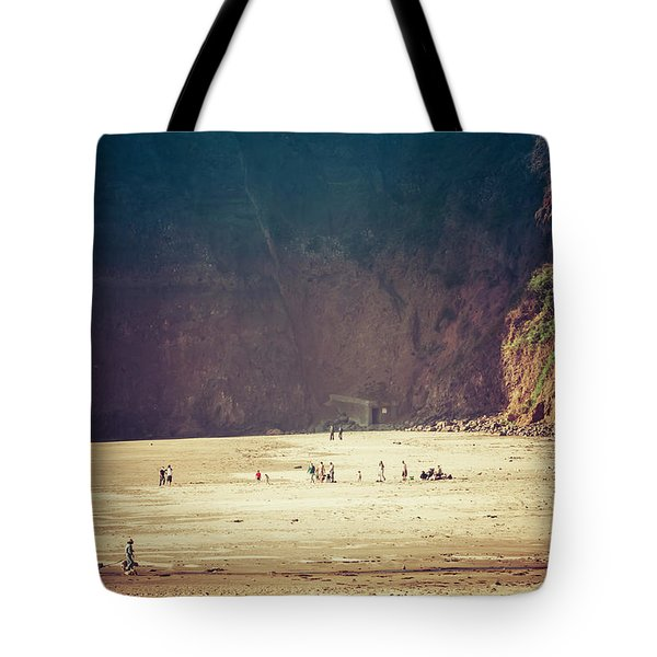 Playing Along Oceanside Oregon Tote Bag by Amyn Nasser