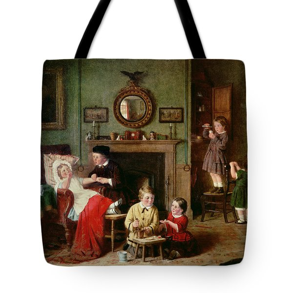 Playing At Doctors Tote Bag by Frederick Daniel Hardy