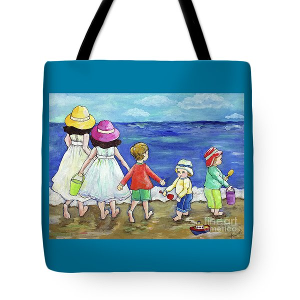 Tote Bag featuring the painting Playing At The Seashore by Rosemary Aubut
