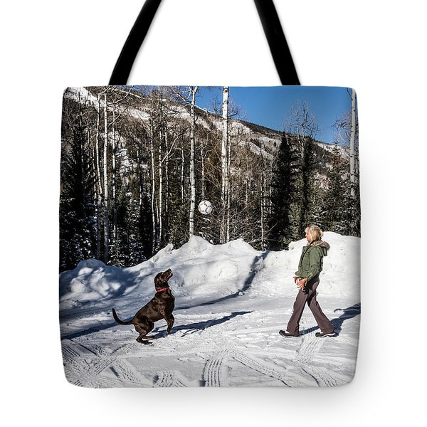Playing Ball With A Beautiful Chocolate Lab Tote Bag