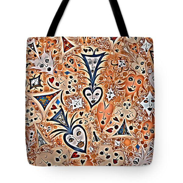 Playing Card Symbols With Faces In Rust Tote Bag