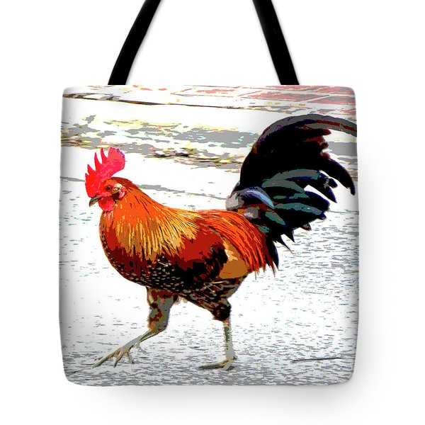 Tote Bag featuring the mixed media Playing Chicken by Charles Shoup