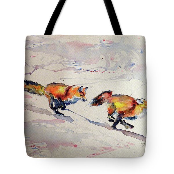 Playing Foxes Tote Bag