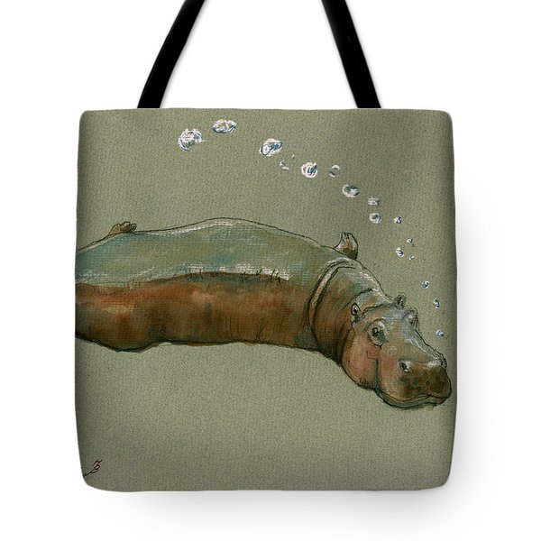 Playing Hippo Tote Bag by Juan  Bosco
