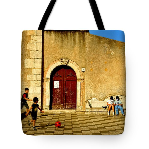Playing In Taormina Tote Bag by Silvia Ganora