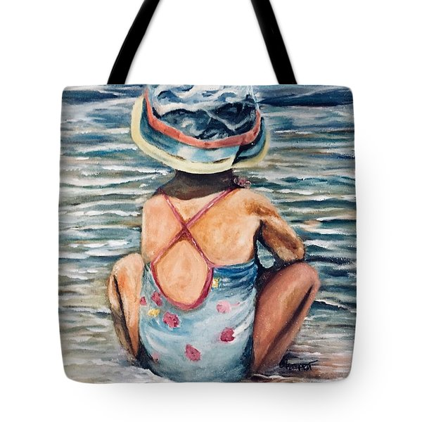 Playing In The Waves Tote Bag