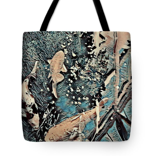 Tote Bag featuring the digital art Playing It Koi by Mindy Newman
