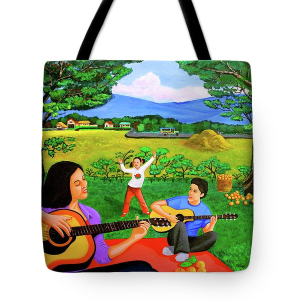 Playing Melodies Under The Shade Of Trees Tote Bag by Lorna Maza