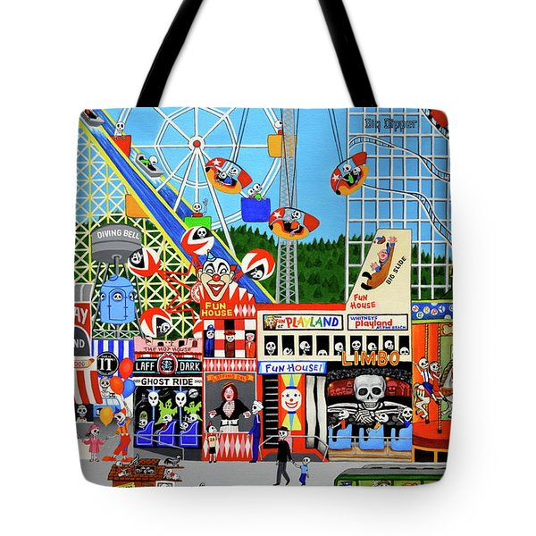 Tote Bag featuring the painting Playland In The Afterlife by Evangelina Portillo