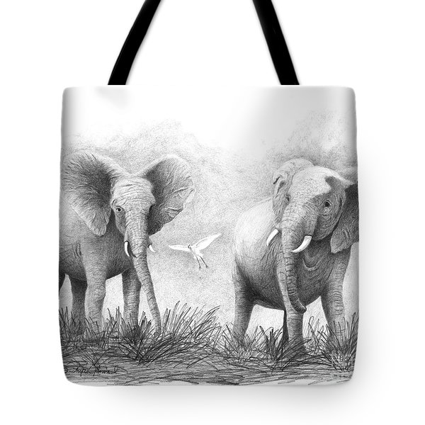 Tote Bag featuring the drawing Playtime by Phyllis Howard