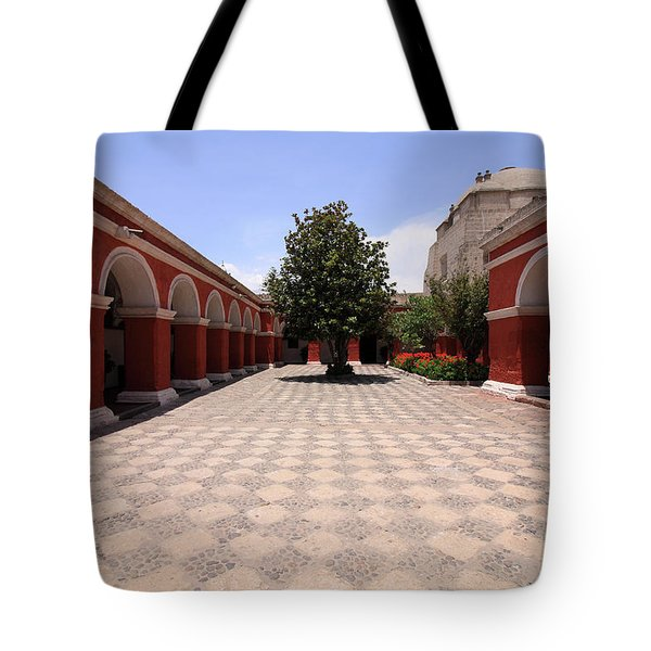 Tote Bag featuring the photograph Plaza At Santa Catalina Monastery by Aidan Moran
