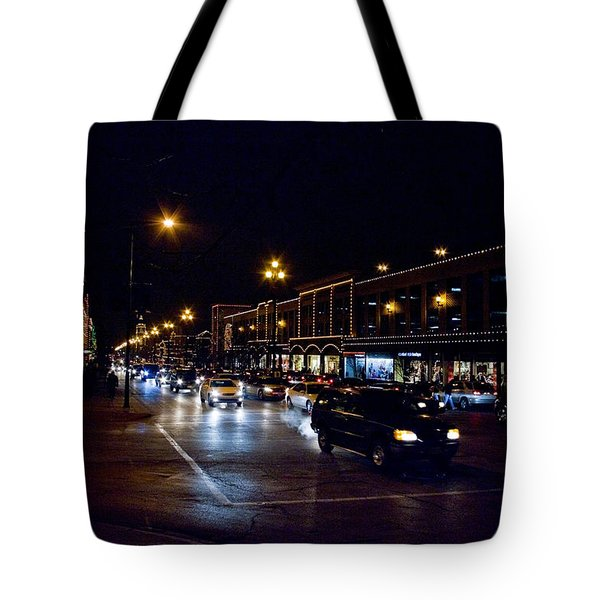 Tote Bag featuring the photograph Plaza Lights by Jim Mathis
