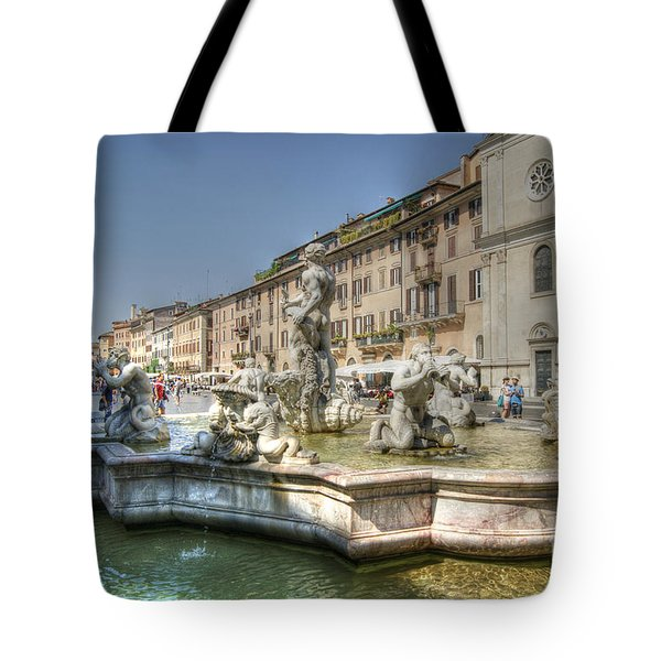 Tote Bag featuring the photograph Plaza Navona Rome by David Birchall