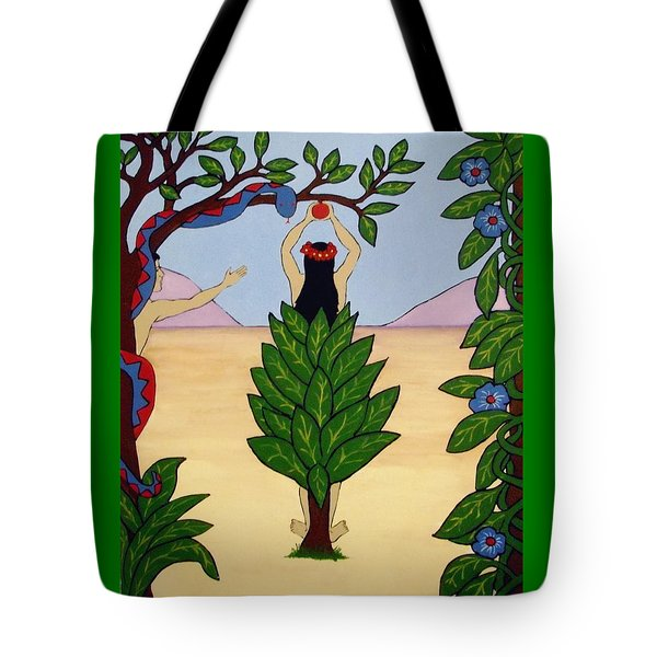 Tote Bag featuring the painting Please Don't Pick That Apple by Stephanie Moore