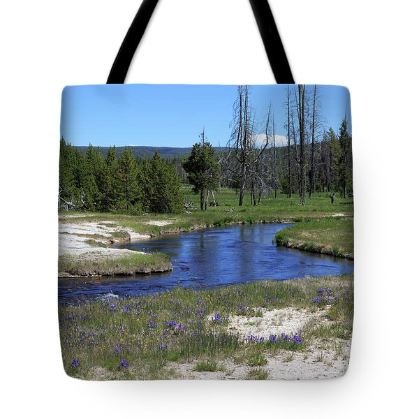 Pleated Gentians Beside Iron Creek In Black Sand Basin Tote Bag by Louise Heusinkveld