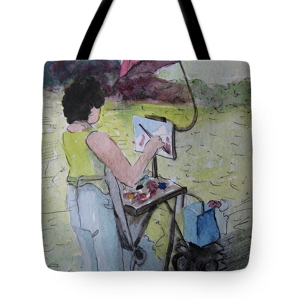 Plein-air Artist Sandra Tote Bag by Gretchen Allen