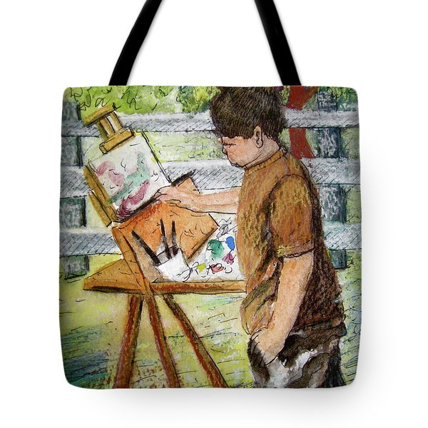 Plein-air Painter Boy Tote Bag by Gretchen Allen
