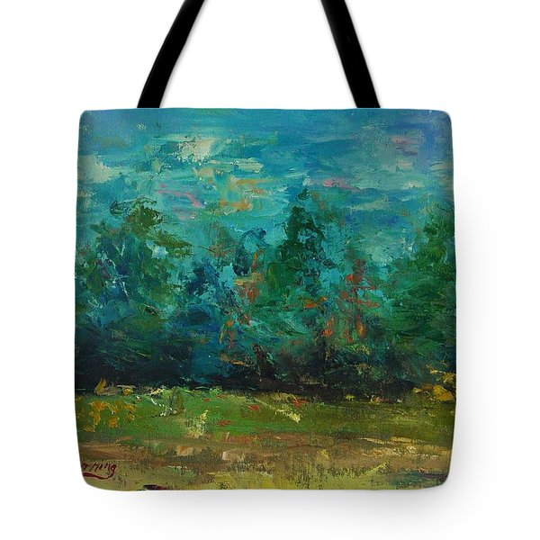 Tote Bag featuring the painting Plein Air With Palette Knives by Carol Berning