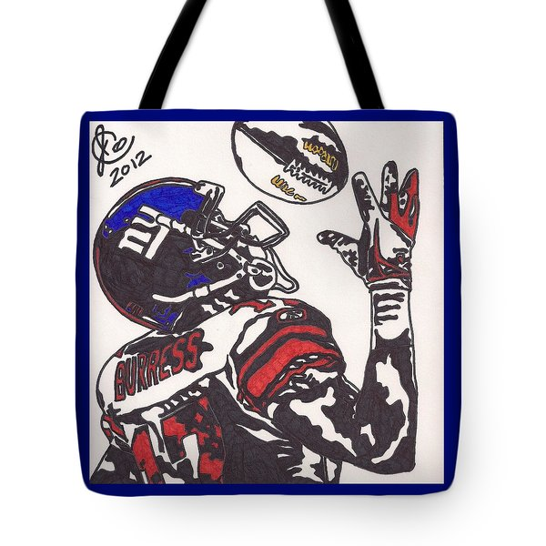 Tote Bag featuring the drawing Plexico Burress by Jeremiah Colley