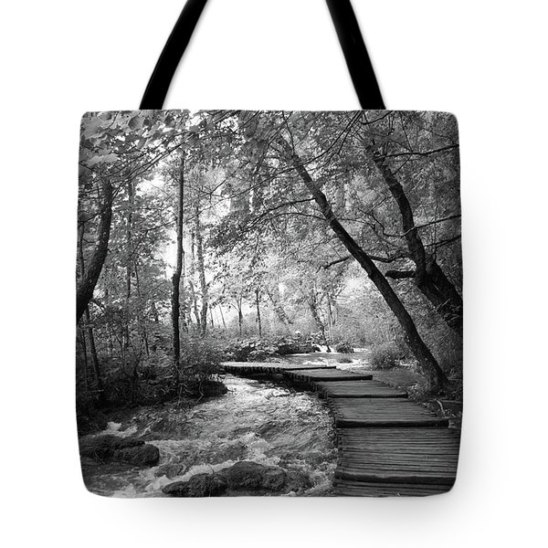 Plitvice In Black And White Tote Bag