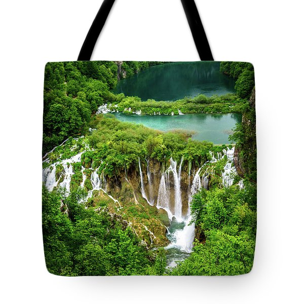 Plitvice Lakes National Park - A Heavenly Crystal Clear Waterfall Vista, Croatia Tote Bag