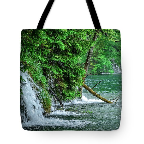 Plitvice Lakes National Park, Croatia - The Intersection Of Upper And Lower Lakes Tote Bag