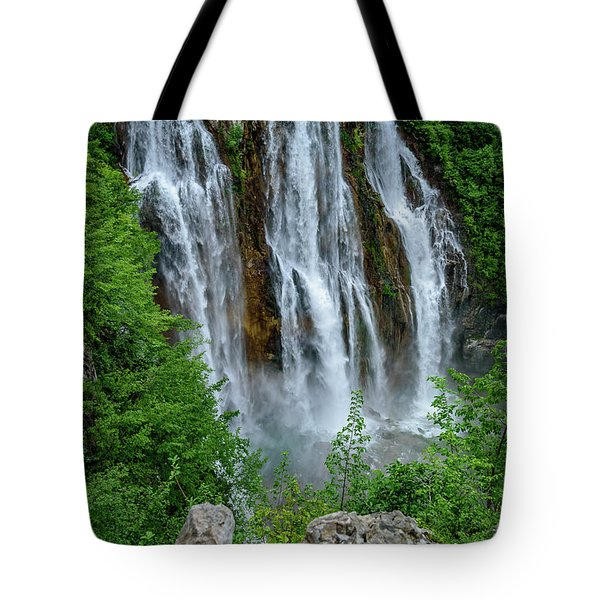 Plitvice Lakes Waterfall - A Balkan Wonder In Croatia Tote Bag