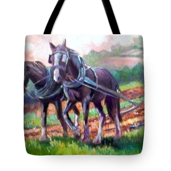 Tote Bag featuring the painting Ploughing by Paul Weerasekera