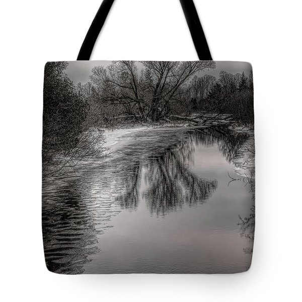 Plover River Black And White Winter Reflections Tote Bag