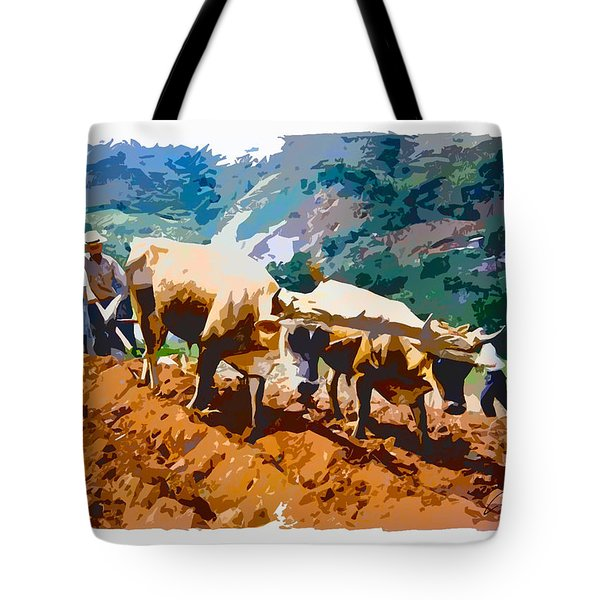 Plowing With Oxen Tote Bag