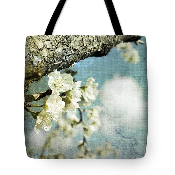 Plum Blossoms And Puffy Clouds Tote Bag by Cindy Garber Iverson