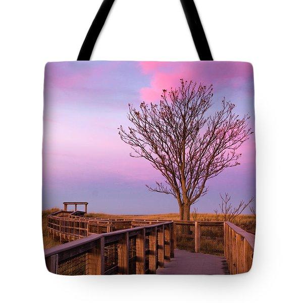 Plum Island Boardwalk With Tree Tote Bag