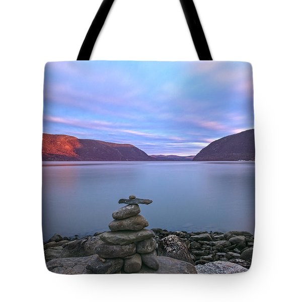 Plum  Point Rock Cairn At Sunset Tote Bag