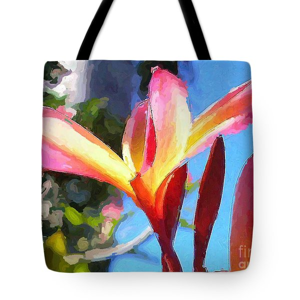 Plumeria Abstract Tote Bag