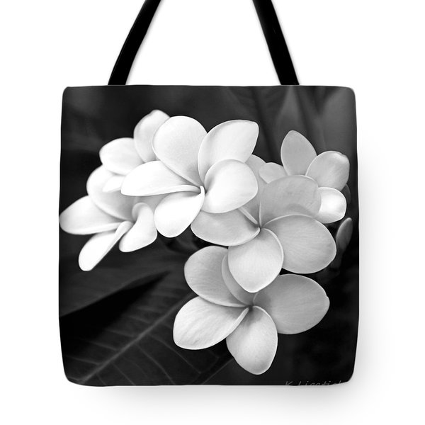 Plumeria - Black And White Tote Bag