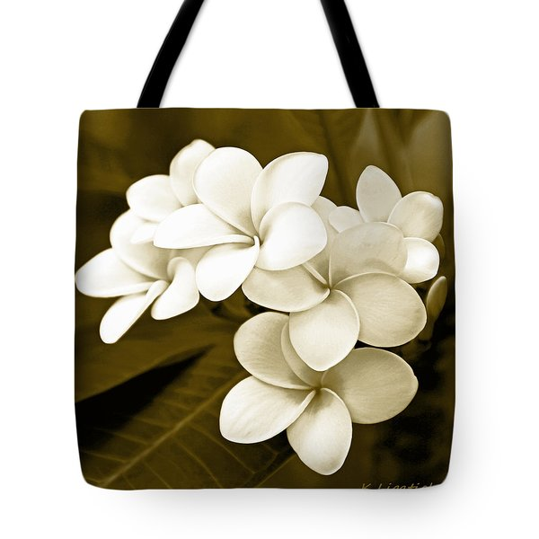 Tote Bag featuring the photograph Plumeria - Brown Tones by Kerri Ligatich