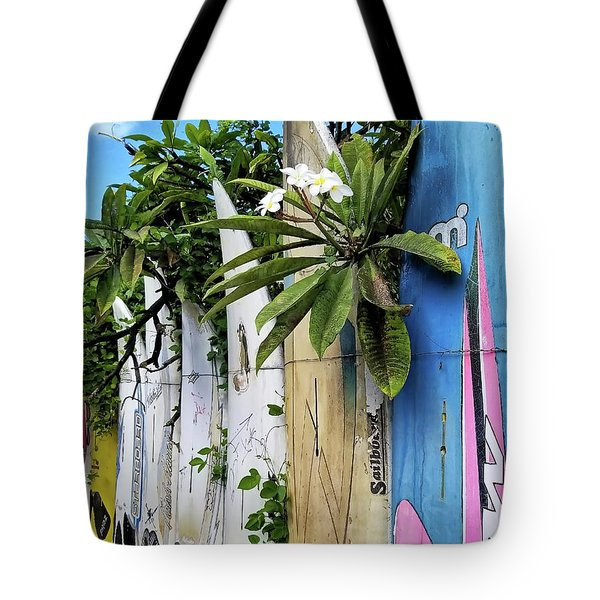 Plumeria Surf Boards Tote Bag