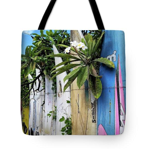 Plumeria Surf Boards Tote Bag