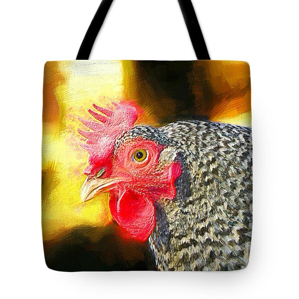Plymouth Barred Rock Portrait Tote Bag