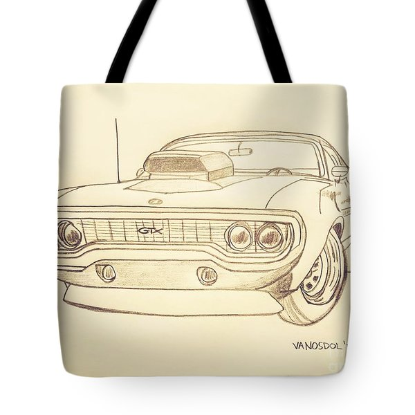 Plymouth Gtx American Muscle Car - Antique  Tote Bag