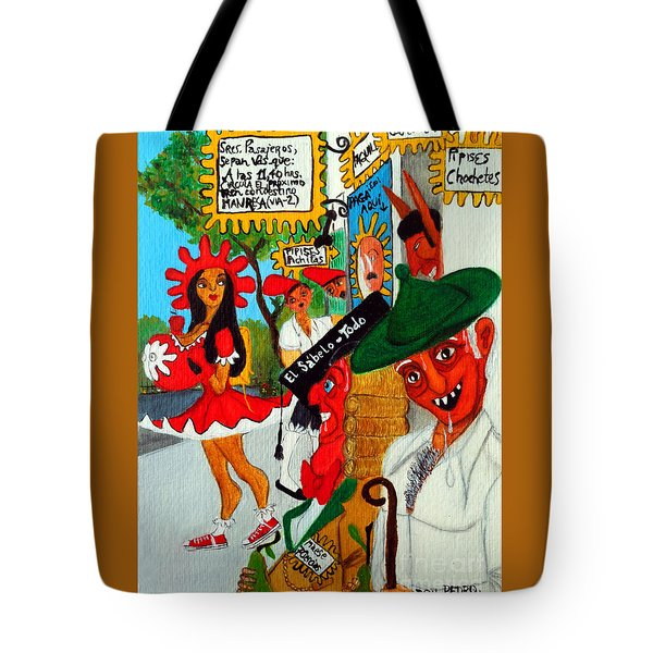 Tote Bag featuring the painting Pneumatic Girl At The Railroad Station by Don Pedro De Gracia