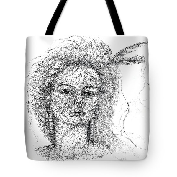 Tote Bag featuring the drawing Pocahontas by Mayhem Mediums