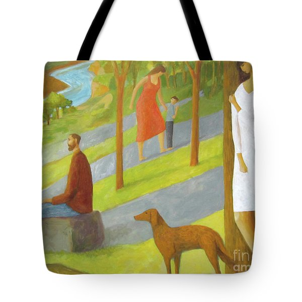 Tote Bag featuring the painting Poets Hill by Glenn Quist