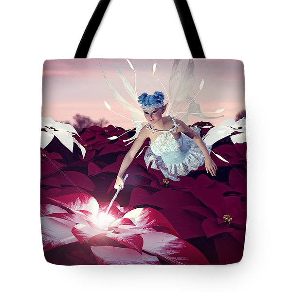 Poinsettia Snow Fairy Tote Bag by Methune Hively