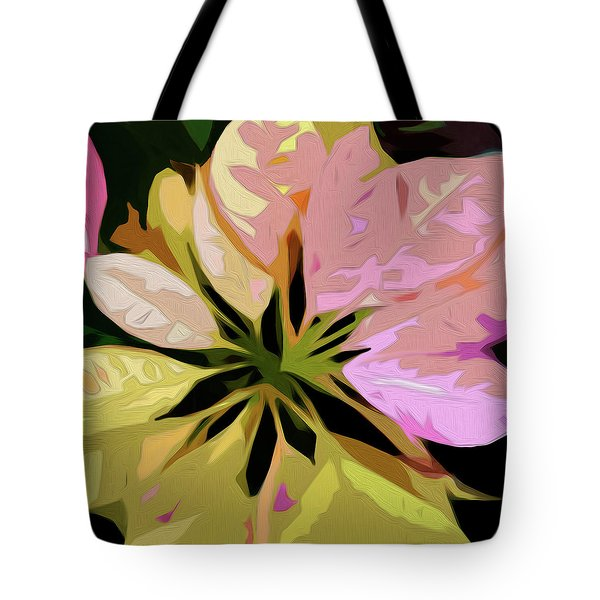 Tote Bag featuring the digital art Poinsettia Tile by Gina Harrison