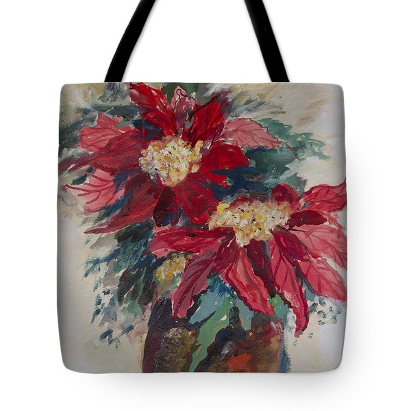 Poinsettias In A Brown Vase Tote Bag by Avonelle Kelsey