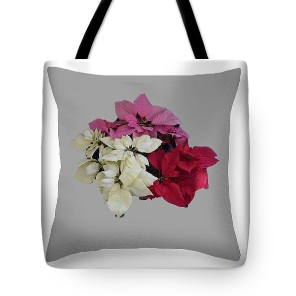 Poinsettias Pillow Grey Background  Tote Bag by R  Allen Swezey
