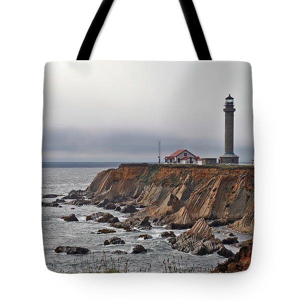 Point Arena Lighthouse Ca Tote Bag by Christine Till